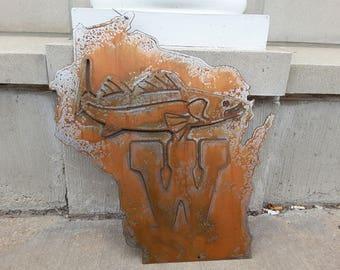 Wisconsin Walleye metal sign.