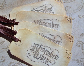 Remember When Vintage Gift Tags 4 Medium Tags Vintage Style Gift Tags - Gift Tags - Book Marks