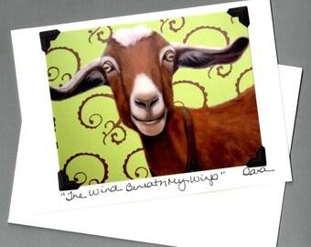 Goat Card - Funny Goat Card - Funny Goat Art  - Proceeds Benefit Animal Rescue