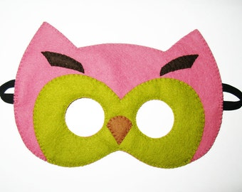 Owl felt mask - Olive Pink Brown - for boys girls - Dress Up play accessory for childrens - Theatre roleplay - Gift for kids