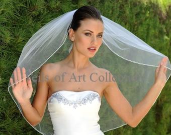 Designer One Tier Embroided Bridal Wedding Veil Fingertip Style VE303 NEW CUSTOM VEIL