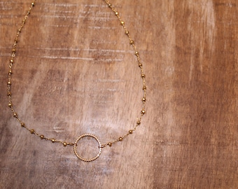 Gold Circle Rosary Chain Necklace