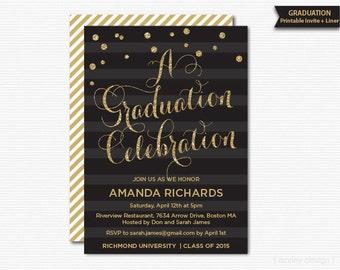 Graduation Celebration Invitation Grad Party Invitation Printable Invite Class of 2015 Gold Glam Glitter Black Graduation Invitation