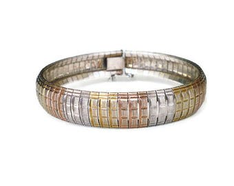 Italy Sterling Gold Textured Modernist Bracelet - Rose Gold, Yellow Gold, Gold Plated, Italian Silver, Bangle Bracelet, Vintage Jewelry