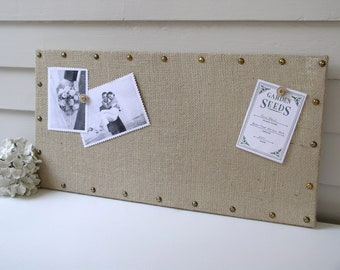 Organizer - Burlap Memo Board - MAGNETIC Bulletin Board 12 x 24 inches with Hardwood and Brass Upholstery Nail Head Tacks and Button Magnets