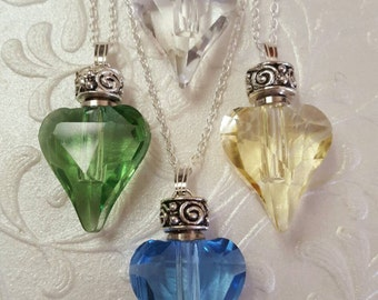 Delicate Crystal Heart Urn Necklace | 6 Color Choices | Keepsake Heart Urn | Cremation Jewelry | Urn Jewelry | Ash Necklace | Crystal Heart