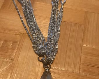 Beautiful silver toned Multi strand cut glass necklace. Sarah Coventry