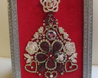 Jeweled Framed Jewelry Art Christmas Tree Red Silver Fabulous Vintage
