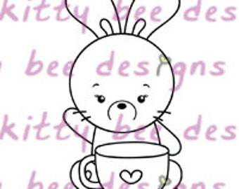 Coffee Bun Digital Stamp