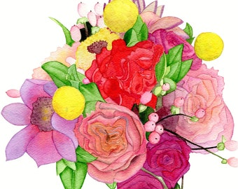 Custom Wedding Bouquet - Original Watercolour Painting
