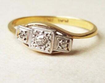 Art Deco Diamond Trilogy Twist Ring, Antique Diamond 18k Gold and Platinum Engagement Ring Approx. Size US 4.75