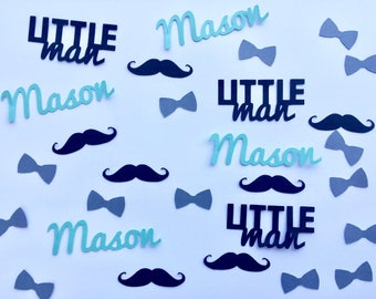Little Man Baby Shower Personalized Confetti - Bow Ties, Mustaches, and Name Confetti - 350 pieces
