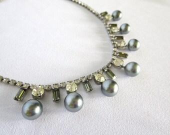 Vintage Necklace, Rhinestone, Pearls, Hematite, Choker, Necklace, Costume Jewelry, Vintage, 50s