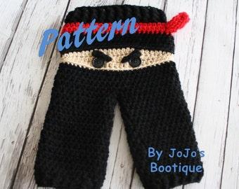 PATTERN - Ninja Baby Pants PATTERN - Baby Ninja Pants - PDF Crochet Ninja Pants - Baby Boy Pants - by JoJo's Bootique
