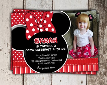 Red Minnie Mouse Invitations with photo - Birthday Invitations - polka dots and stripes - print yourself JPG
