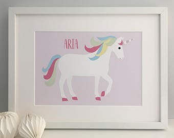 Unicorn Art Print, Unicorn Print, Unicorn Decor, Unicorn Gift, Unicorn, Pastel Unicorn, Unicorn Art, Personalised Unicorn Print, Girls Print