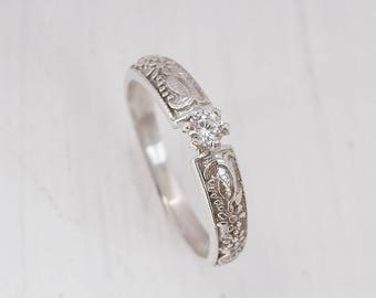 Promise ring, Solitaire ring, Victorian ring silver, Antique ring silver, Filigree ring, Unique silver ring, White stone ring, Sparkle ring