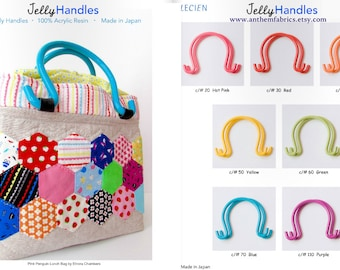 Lecien Jelly Handles and pattern - resin acrylic handles and purse bag pattern, per pair - choose a color