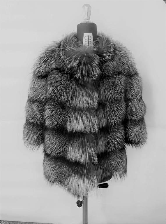 SiLVER FOX FuR jacket FULL SKIN - Vollhaut Silberfuchs Pelzmantel Pelzjacke - Giacca di pelliccia volpe piena