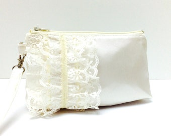 Bridal Clutch Wristlet, Lace Ruffles on Ivory Cream Satin