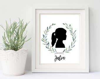 Custom Silhouette art, PRINTABLE childs silhouette art, Childrens silhouette portrait, 8.5x11 PRINTABLE silhouette