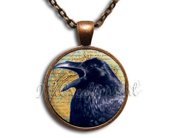 Cawing Raven Glass Dome Pendant or with Chain Link Necklace AN146