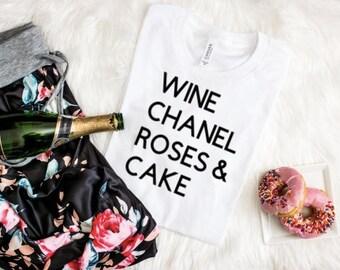 Wine Chanel Roses & Cake Shirt, Fashion Shirt, Designer Shirt, T-shirt