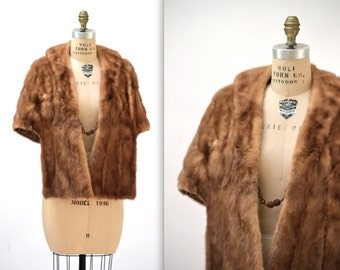Vintage Brown Mink Fur Stole Wrap Cape// 50s Brown Vintage Mink Fur Stole Honey Brown Cape Caplet Winter Wedding