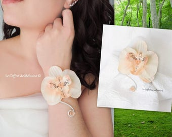 Wedding peach Orchid bracelet and Crystal beads