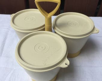 Tupperware Condiment Caddy with Removable Bowls and Lids