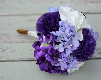 Purple, Lavender, Ivory Silk Wedding Bouquet (Roses, Hydrangea, Carnations)