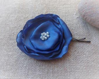 Blue flower hair clip blue hair barrette blue flower ceremony accessory