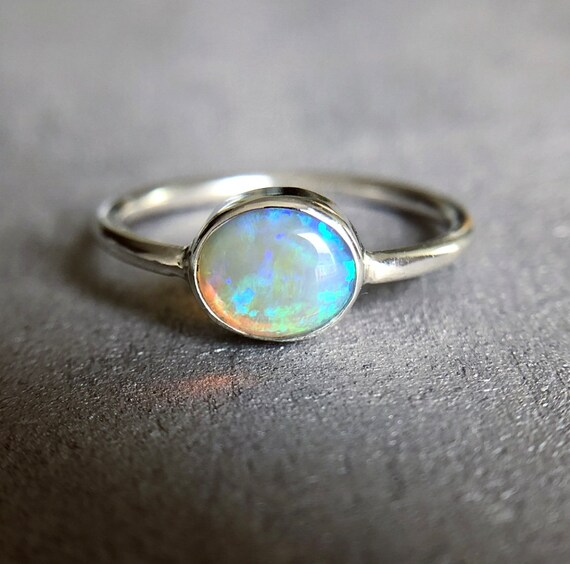 Sterling silver ring with Australian Crystal Opal SZ 6