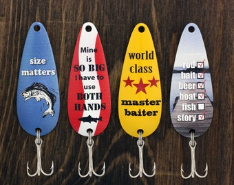 Fishing Humor Casting Spoons,  Fishing Gift, Father's Day Gift, Gift for Him, Fisherman Gift, Fishing Lure, Bait, Funny Gift