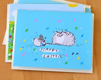 Funny Easter Card - Happy Easter - Cat and Bunny Friend