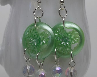 SALE  green shiny button earrings,AB beads and green button earrings,button earrings,eco-friendly button earring,women,party,