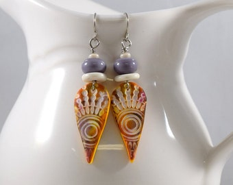 Handmade Orange White and Purple Polymer Clay Earrings, Silver Earrings, Artisan Earrings, Boho Earrings, Orange, Dagger Earrings, E035