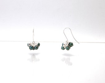 Bloom - silver earrings with teal pearls