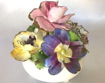 Vintage Crown Staffordshire Bone China Flower Pot