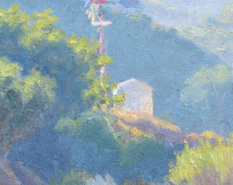 Landscape Painting, California Plein Air Painting, The Old Windmill