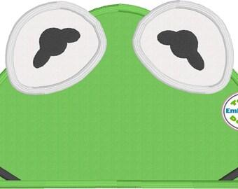 Green Frog Peeker Appliqué Machine Embroidery Design