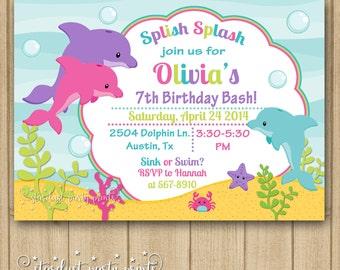 Dolphin Birthday Invitation, Dolphin Invitation, Dolphin Birthday, Under the sea invitation, Fish Invitation, Printable Invitation