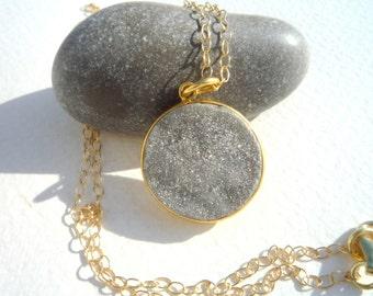 Chain necklace,  Gold Vermeil Silver Druzy Pendant, Modern ,Organic pendant.Silver Druzy pendant, Vermeil pendant