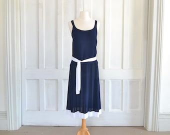 60s Nautical Navy Blue and White Dress 70s Drop Waist Pleated Flapper Dress - Extra Small