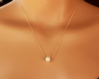 Freshwater Pearl Necklace, Gold Fill, Sterling Silver, Bridesmaid, Dainty Necklace, June Birthstone, Minimalist Single Pearl, Floating Pearl