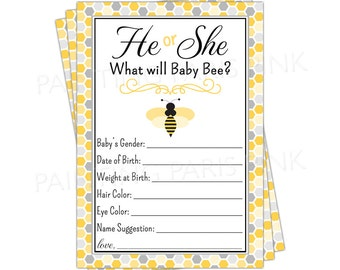 He or She Bumble Bee Baby Shower Game   Printable   Instant Download   Mom To Bee   Shower Game