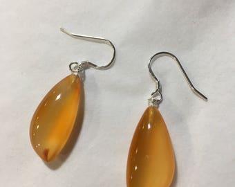 Carnelian and silver drop earrings
