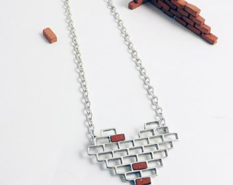 Belfast Brick Large Silver Heart Necklace - Brick Detail