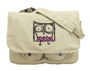 Square Owl Embroidered Canvas Messenger Bag