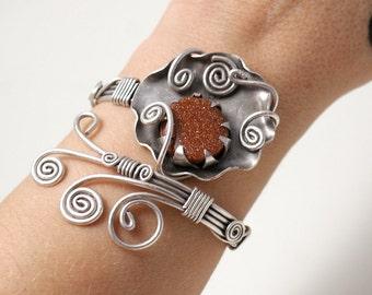 silver wire wrapped jewelry, bracelet for women, goldstone bracelet, silver cuff bracelet women, goldstone jewelry, wire wrapped stone cuff